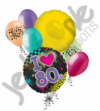 7 pc I Totally Love 80's Balloon Bouquet Happy Birthday Neon Party Decoration