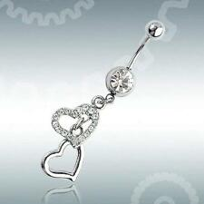 Steel Crystal Heart Dangle Body Piercing Button Ball Belly Navel Ring Barbell