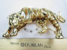 Swarovski Crystals and Enamel - 1488 D'Orlan Gold Plated Cat Brooch with