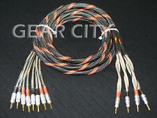 cjcb7 2.5m 8ft Bi-Wire Speaker Cable OFC Wire CMC Gold Banana Spade Plug HiFi