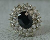 Stunning 2.00ct Diamond & 3.25ct Sapphire 18ct Gold Cluster Ring d0260