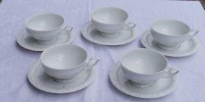 Rosenthal Maria weiss Rose 5 Teetassen mit Untertassen