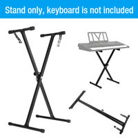Black Adjustable Height Keyboard Piano X Stand Electric Organ Metal Braced Rack