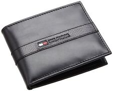 NEW TOMMY HILFIGER RANGER PASSCASE BLACK LEATHER BILLFOLD CREDIT CARD MEN WALLET