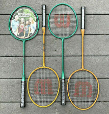 Wilson Outdoor Badminton Set of 4 Racquets Green & Orange New with Wrap