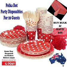 Party Supplies Bulk Red Polka Dot Pack Table cover,Plates,Glasses & Napkins
