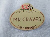 Disney WDW Button Pin 100 Years of Magic DAVY CROCKETT  Cast Member Name GRAVES