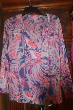 Lilly Pulitzer SARIA Silk Top Blouse Iris Pink Blue Shrimply Chic M