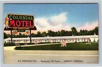 Colonial Motel, Restaurant, Vintage Jarratt Virginia Postcard