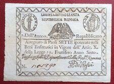 Italie - République Romaine - Rare billet de 7 Paoli 1798 ( an 7)