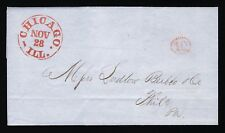 1850 STAMPLESS COVER CHICAGO 10 COGWHEEL TO PHILADELPHIA NOV 28 RED CANCELS