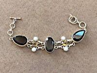 """Sterling Silver 925  Pearl, Citrine and Smoky Quartz bracelet 7"""""""