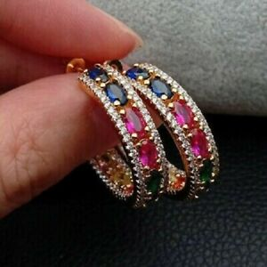 3.50Ct Oval Cut Sapphire Emerald And Ruby Hoop Earrings 14K Yellow Gold Finish