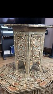 Egyptian Moroccan Style Side End Table Beech wood Inlaid Mother of Pearl .