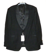 Alexander Dobell 1 Button Luxury Black Tuxedo Jacket Pure Wool 48R Box60 42 F