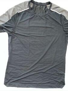 Lululemon LARGE BLACK STRIPES short sleeve athletic shirt workout running