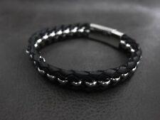 Luxury Silver Black Genuine Leather Chain Bracelet for Harley Davidson Biker 175