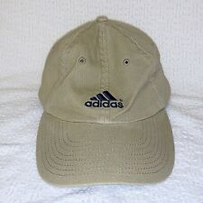 ADIDAS Baseball Hat Cap Beige with Blue Embroidered Logo One Size Stretch Fabric