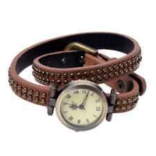 Watch brown Leather Quartz Bracelet Round Roman Numerals Women Rivets B7C0