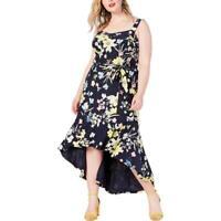 Rachel Rachel Roy Womens Navy Floral Print Jersey Maxi Dress Plus 1X BHFO 5133