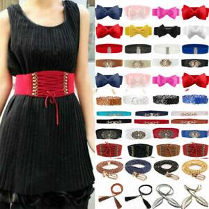 Women Wide/Slim Fashion Belt Buckle Decor Cinch Waist Belt Elastic Stretch Party