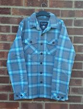 Grey blue white checked patterned shirt pastel top flannel jacket coat padded S
