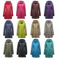 Women Long Quilted Puffer Coat Ultralight Parka Padded Down Hooded Winter Jacket
