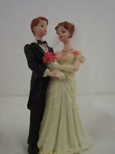 Vintage Liu Collection Ceramic Hand Painted Wedding Cake Toppers NIB