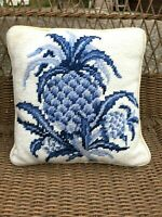 Williamsburg Needlepoint Accent Pillow (Pre-Owned, Nice Shape) Pineapple Theme
