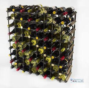 Cranville wine rack storage 72 bottle dark oak stain wood and metal self build