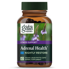 NEW - Gaia Herbs Adrenal Health® Nightly Restore 60 Capsules & FREE SHIPPING