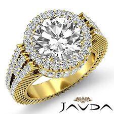 Round Diamond Engagement Ring GIA I Color VS2 18k Yellow Gold Halo Prong Set 4ct