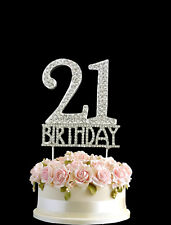 Crystal Monogran Happy 21st Birthday Cake Topper Rhinestone Diamante Silver