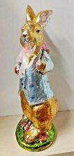 """GANZ Easter Foil Bunny Figurine with Backpack Resin Easter Decor 16"""" Tall"""""""