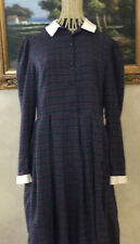 ~VTG Laura Ashley Plaid Green Tartan Long Sleeve Collar Neck Pocket Dress UK 14