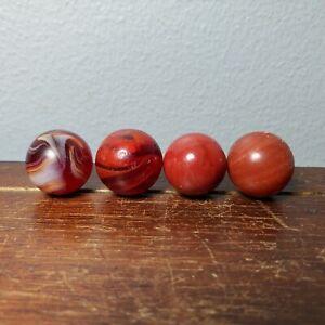 "4 Antique Red Slag Agate Marbles CAC MF Christensen Peltier .63"" - .65"""