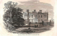 Genuine.Antique.1866.Crewe Hall.Cheshire.County print.Architecture.Art.1860's