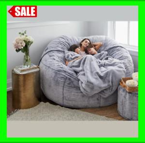 Microsuede Puf Gigante 7 Pies Para Sala De Estar Mueble Grande Redondo Suave