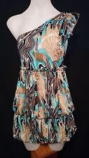 Ever Pretty Ladies Dress in an Aqua-marine Beige and Brown Abstract Print Size 8