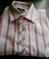 Jeff Banks Stvdio ~ pure cotton pink striped suit/office l/sleeve shirt  16.5