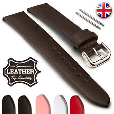 Non-Stitched Plain Genuine Leather Watch Strap Tapered 12 14 16 18 20 22 24