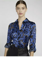 NWT Alice + Olivia Eloise Floral Burnout Silk Blend Blouse Top Size Small