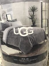 New POLAR UGG Reversible Comforter Twin XL Seal Grey with 1 Sham