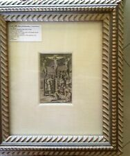 Bartolomeo Ricci 1600 Christ between 2 thieves fine laid paper framed