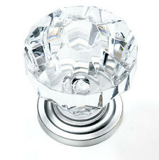 Cabinet Hardware Acrylic Cabinet Knob door drawer pull Crystal Chrome 1 1/4""