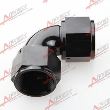AN-12 AN12 To AN12 12AN 90 Degree Female To Female Full Flow Adapter Black