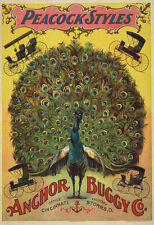 AD40 Vintage Peacock Victorian Carriage Buggy Advertising Poster A4 Re-Print