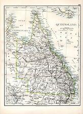 1904 MAP ~ QUEENSLAND (SOUTH AUSTRALIA inset ARNHEM LAND ON REVERSE)