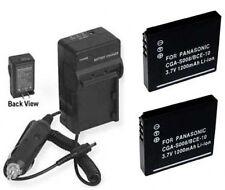 2 Batteries +Charger for Panasonic CGA-S008E/1B DMW-BCE10PP DMW-BCE10 DMW-BCE10E