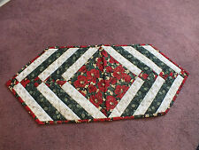 Beautiful Handmade Quilted Christmas Runner Red Green Beige Black Sign by Maker